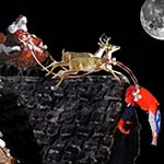 Santa, Reindeer, And Sled On Rooftop While Chuckman Dangles Over Edge