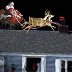 Chuckman's Feet Are Sticking Out Of A Rooftop Chimney While Santa And His Reindeer Look On In Disbelief