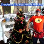 Chuckman Standing Next To A Christmas Tree Thinking Fa la la la la, Chuckman VS. Christmas, Issue # 3, Chuckman The Red-Nosed Reindeer