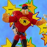 Real Chuckman Action Figure - With Movable Arms - Showing Front, Right, And Back View