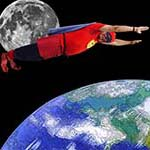 Chuckman Flies In Space Around The Earth So Fast He Travels Forward Through Time