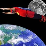 Chuckman Flies To The Edge Of Space, The Earth Below, The Moon Behind Chuckman, And A Black Sky