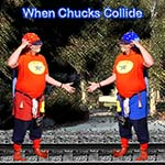 Chuckman, A Superhero, Looking At His Double While Scratching His Head