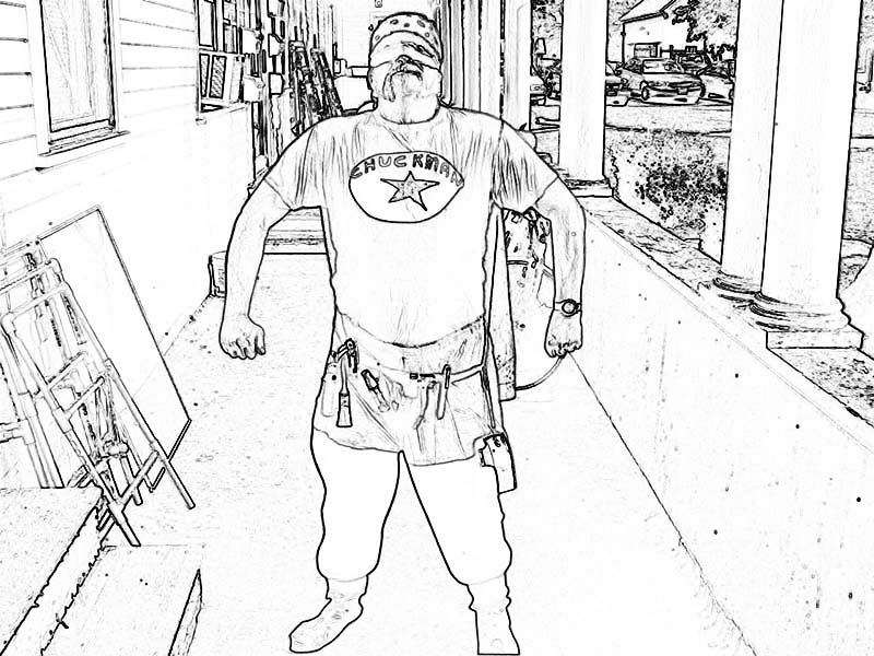 Chuckman Standing In Righteous Pose - Coloring Book